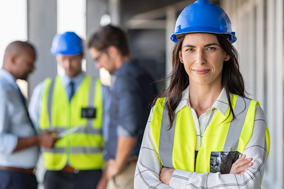 Woman Engineer at building site